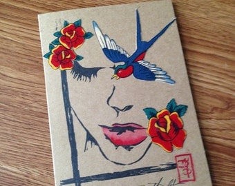Swallow Card- Original block print and watercolor card with fabric collage