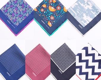 Savile - Fun Modern Colorful 100% Silk Pocket Squares for Men - Pick 3