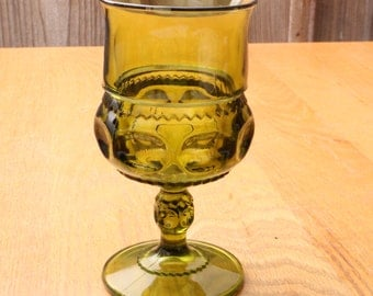 Indiana Glass Co Kings Crown Wine Goblet Green Thumbprint Design