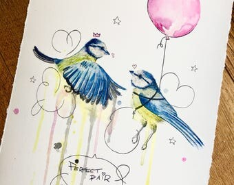 Giclée Watercolour Print, 'A Perfect Pair of Tits'