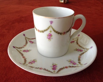 Garland of Roses Demi-tasse cup and saucer