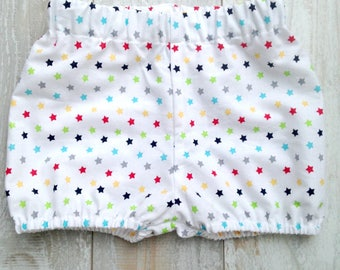 Cake Smash Birthday Photo Prop Multi Rainbow Stars Cotton Shorties, Bubble Shorts, Bloomers, Diaper Cover, Shorts, Sizes 3M thru 24M