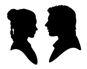 Pack of 3 Han Solo and Leia Stencils Made from 4 Ply Mat Board, 11x14, 8x10 and 5x7