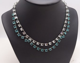 Beautiful Vintage Art Deco Crystal Open Backed Triple swag Necklace Blue and White