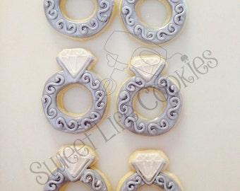 Diamond Engagement Wedding Ring Cookies