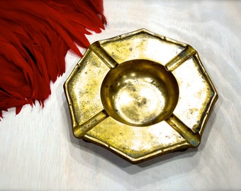 VINTAGE: 1970's - Solid Brass Edged Ashtray - Candle Holder - Home Decor - SKU 14-D2-00008421