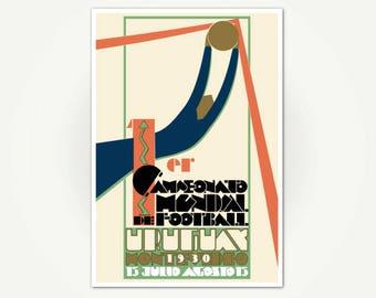 1er Campeonato Mundial de Football Uruguay 1930 Poster Print - Art Deco Sport Poster Art
