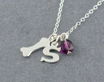 Dog Bone Personalized Sterling Silver Charm Necklace, Birthstone Necklace, Initial Charm