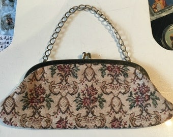 Vintage 1960s Tapestry Evening Bag with Chain Handle Converts to Clutch