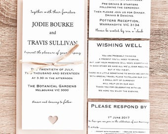 Personalised Wedding Invitation Set With Wishing Well, RSVP, Reception. Envelope. Guest names