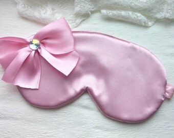 Big Bow - Gentle Pink Satin Sleep Mask, headmade Bow Sleep Mask, Cute Pink Eye cover, Blackout Mask, Blindfold, night eyemask, cheap gift