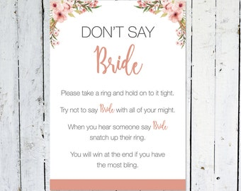 Don't Say Bride, Bridal Shower Ring Game, Floral Game, Boho, Bridal Shower, Instant Download, Printable