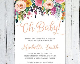 Baby Shower Invitation Girl, Oh Baby, Floral Baby Shower Invitation, Flowers, Printable, Printed, Colorful, Spring