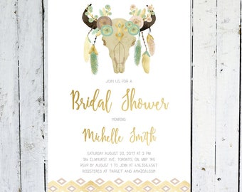 Bridal Shower Invitation, Boho, Antlers, Cow Skull, Tribal, Gold, Pink, Mint, Feather, Floral, Watercolor, Anlters, Printed, Printable