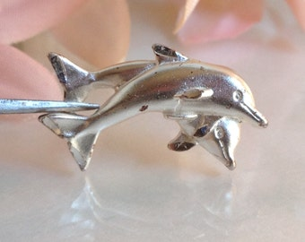 Sterling Silver Double Dolphin Charm Pendant. 265-260
