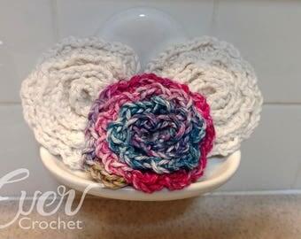 Crochet Flower Scrubbies, Face Scrubbie, Flower Scrubbies, Facial Scrubbies, Cotton Scrubbies, Make Up Removal Pads, Reusable,100%Cotton