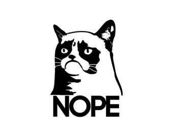 Grumpy Cat Decal - Nope Vinyl Decal, Grumpy Cat Decals, Wall Decal, Car Decal, Laptop Decal, Grumpy Cat