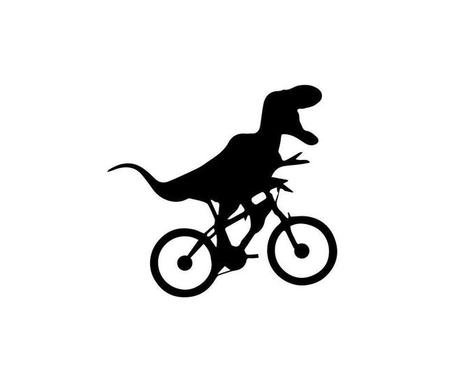 Featured listing image: T-Rex Decal - Dinosaur Decor / Bicycling Dinosaur / Decal
