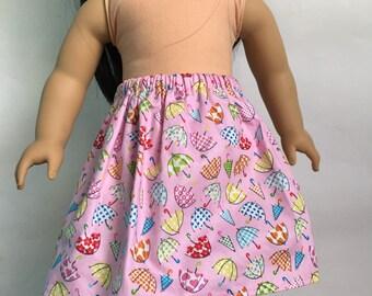 Handmade 18 inch doll clothes - Soft Pink Umbrella Skirt