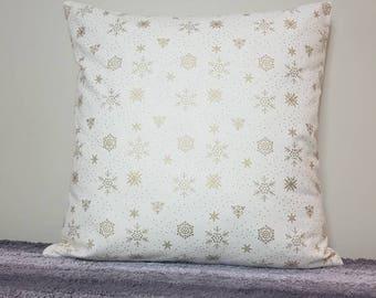 Snowflake metallic pillow cover, christmas decor, Christmas pillow, Holiday decor, Christmas gift, Holiday pillow, Snowflakes, pillow sham