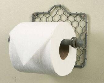 Rustic chicken wire toilet paper holder