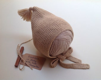 100% cashmere Baby and kid Pixie Bonnet hat  from 3 months to 3 years to order