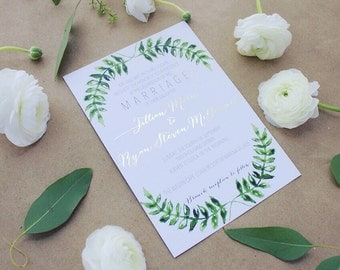 Watercolor Greenery Leaves Semi Custom Wedding Invitation Suite | Invites | RSVP | Accommodations | Table Numbers | Place Cards