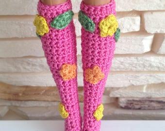 Crochet Barbie socks, crochet pink socks, crochet Barbie knee socks, Barbie accessories, Barbie clothes, handmade Barbie knee socks