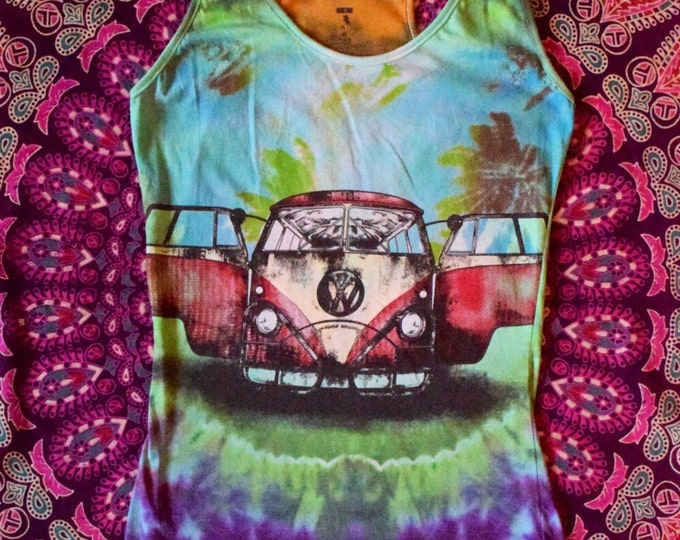 VW Bus Beach Babe Cosmic Cove Tie-Dye Collaboration Woman's Tank
