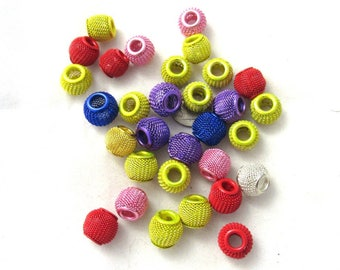 30 Pc Assorted Color European Style Large Hole Mesh Charm Beads (B156f)