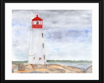 Peggy's Cove Lighthouse, Original, Art, Watercolor, Painting, 11x14, Gift, Mother's Day, housewarming, birthday, anniversary, red, blue