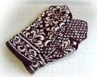 Wool  mittens, Women's mittens, Burgundy and white mittens, Wool arm warmers, Patterned Nordic mittens, Scandinavian mittens,