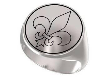 Fleur De Lis Ring, Fleur De Lis, Fleur De Lis Jewelry, Royal Fleur De Lis, Signet Ring, Round Ring, 925 Sterling Silver Ring, Handmade Ring