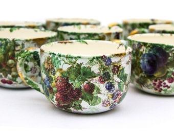 Set of 4 Wydnor Hall Pottery Blue Bramble Bowls