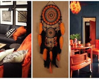 Black Dreamcatcher halloween orange mosaic Dream Catcher Large Dreamcatcher New Dream сatcher gift idea dreamcatcher boho dreamcatcher gift