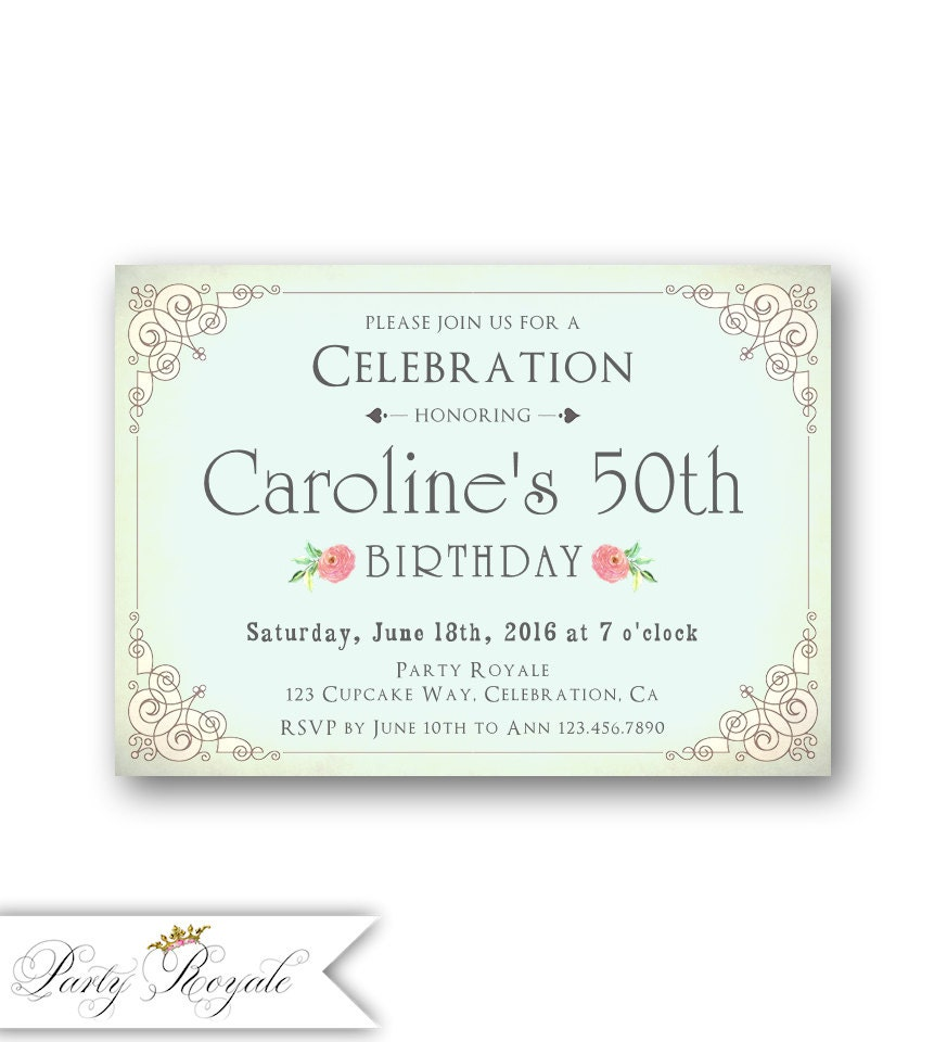 Adult Birthday Invitations for Women / Elegant 50th Birthday ...