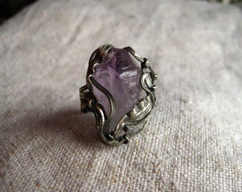 Beautiful Amethyst Crystal Ring, Raw Amethyst Ring, Crystal Amethyst, Quartz Crystal, Quartz Jewerly, Amethyst Jewerly, Raw Crystal Jewerly