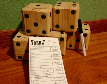Lawn Dice With a Dry Erase Scorecard Sticker for Yard Yahtzee
