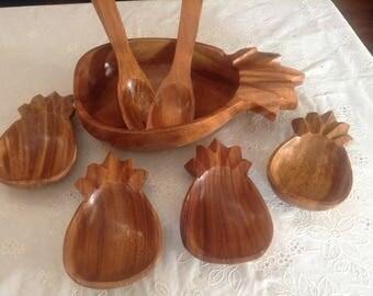 Wooden Pineapple Salad/Fuit Set