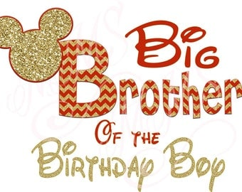 Big Brother Birthday Boy Minnie Mickey Red Gold  Mouse Mom Birthday Boy Shirt DIY Iron On Digital Art Matching Red Black Dot Birthday