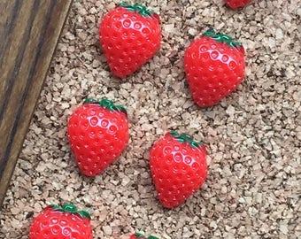 Strawberry Thumb Tacks, Strawberry Decor, Pushpins, Strawberry Decorations, Gifts under 10, Push Pins, Thumbtacks, Teenage Girl Gifts, Fruit