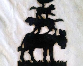 "black metal farm animals silhouette wall décor; small; 7.25"" x 4.25"" farmhouse decor; country, rustic, or western decor; barnyard decor"