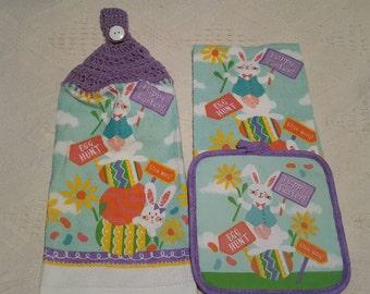 Easter 3 pc. Crochet Towel Set