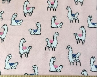 "1/2 yard Llama fabric pink, By the Half Yard, 42"" wide, flannel"
