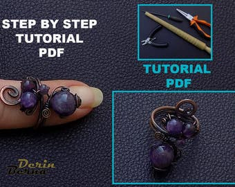 Wire wrapping PDF tutorial,jewelry tutorials,ring tutorial,beading tutorials and patterns,wire wrapped jewelry,wire wrapped ring,PDF pattern