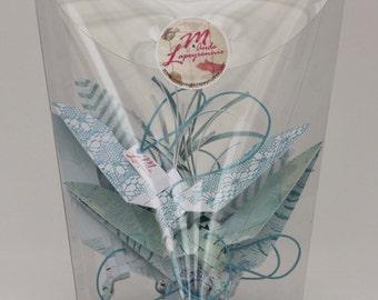 "Garland-origami birds in paper ""Topaz"""