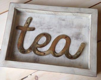 Tea Sign, Kitchen Decor, Cafe Decor, Rustic Metal Sign