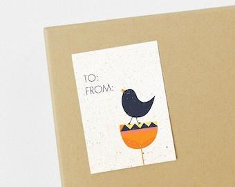 Bird Self-Adhesive Gift Tags - Set of 8