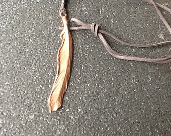 Electroformed copper feather boho, gypsy festival necklace