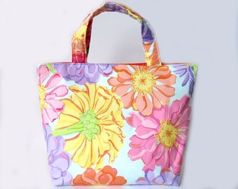 Women's Handbag, Tote Bag, Handmade Bag, Contains Pocket & Magnetic Button Closure, Bright Floral, Spring Fashion, Mothers Day Gift